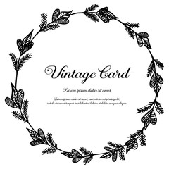 Collection of vintage card with floral hand draw vector illustration