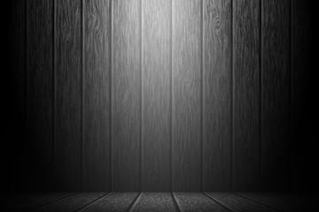 Wooden spotlight stage studio entertainment background.