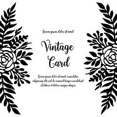 Flower design for vintage card hand draw vector illustration