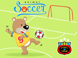 Vector illustration of animal soccer player cartoon