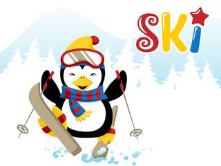 Vector illustration of skiing penguin cartoon
