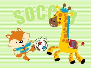 Vector illustrations of animals soccer players cartoonj