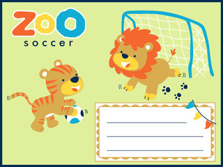 Vector illustrations of animals cartoon playing soccer