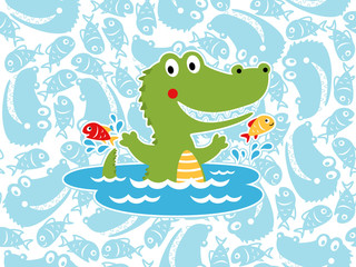 Vector of happy crocodile cartoon on seamless pattern background