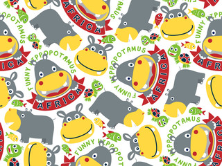 seamless pattern with hippopotamus cartoon and turtle, fish