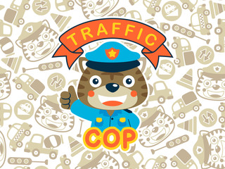 Tiger the funny traffic cop on seamless pattern background, including cars, traffic sign, tiger head.