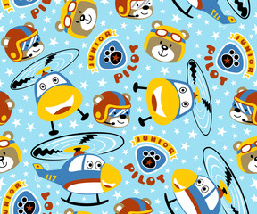 seamless pattern vector with funny helicopter and pilots