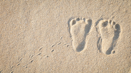 The little cute footprint of baby on the sand.