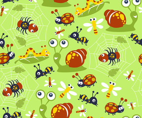 seamless pattern vector with little animals cartoon