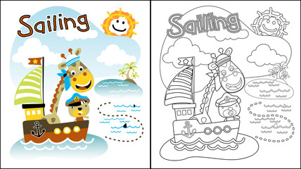 Vector illustration of sailing with animals cartoon, coloring book or page