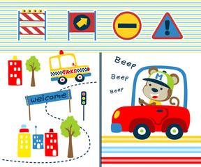 Vector illustration of transportation equipments cartoon with funny driver