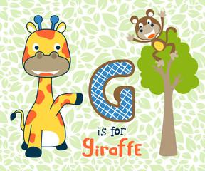 Vector illustration of smart animals cartoon, giraffe and monkey