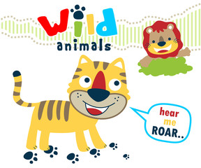 Vector illustration of  funny wild animals cartoon
