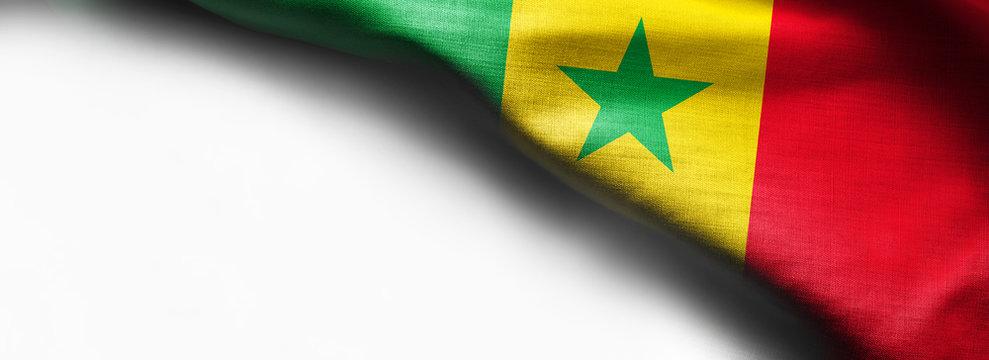 Senegal waving flag on white background