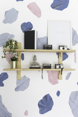 decoration on the wooden shelf with abstract wall.