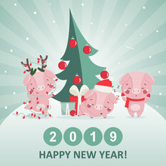 Happy new year greeting card with cute pig. Chinese symbol of the 2019 year. Design for print, poster, invitation, t-shirt. Vector illustration.