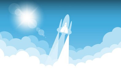 Rocket on sky blue color vector design. illumination