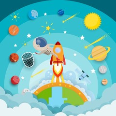 astronaut star catch riding a rocket and smoke through cloud into space and stars. flat design. Vector illustration.