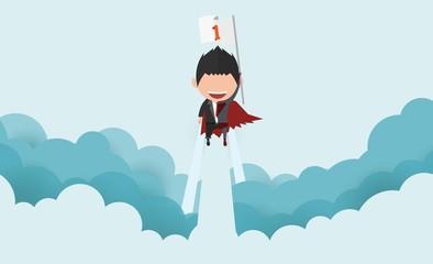 Vector illustration of a happy face superhero businessman on sky.startup concept flat design.