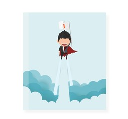Cover report a happy face superhero businessman on sky.startup concept. flat design. Vector illustration.