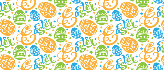 Easter background pattern texture with easter eggs and text, seamless pattern for your design Vector illustration