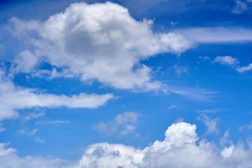 White cumulus puffy cloud in blue sky background.