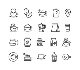 Simple Set of Coffee Related Vector Line Icons. Editable Stroke. 48x48 Pixel Perfect.