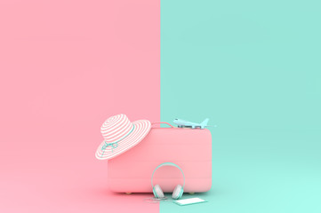 suitcase pink color with model airplane with headphone and smartphone on pink and blue pastel background. minimal style, 3d render.