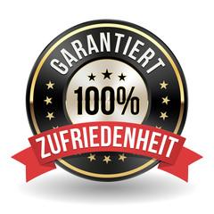 Garantiert 100% Zufriedenheit Siegel in gold/schwarz