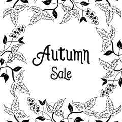 Text Autumn in calligraphic hand drawn style with flower vector illustration