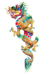 Chinese dragon statue on white background.
