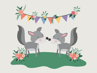 baby shower card with cute dogs couple vector illustration design