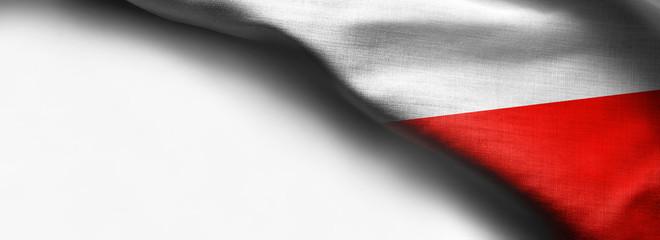 Fabric Flag of Poland on white background