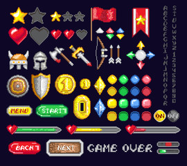 Colorful set of pixel icons for game design and interface on dark blue background