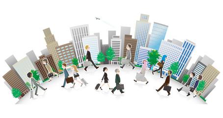 働く人々と街並みのイラスト