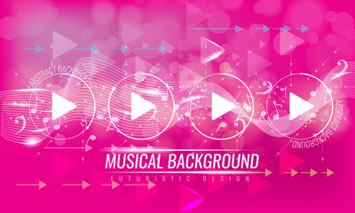 Abstract musical futuristic background with arrows and bokeh effect. Vector background. Pink color