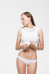 Model in underwear looking away