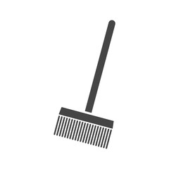 Bristle broom with stick icon