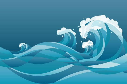 high tide sea water waves Background. illustration of waves in the rising blue sea, with deep blue background.