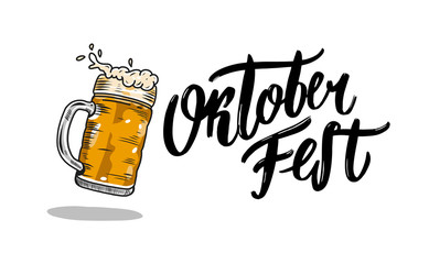 Oktoberfest hand drawn vector lettering and beer glass. Modern brush calligraphy.