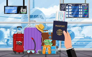 International airport. Hand of traveler with passport. Travel suitcase. Plane before takeoff. Airport control tower terminal building cityscape. Sky with clouds and sun. Vector illustration flat style