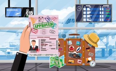International airport concept. Hand with passport. Travel suitcase with stickers of countrys and citys all over the world. Airport terminal and aircraft. Cityscape. Vector illustration flat style