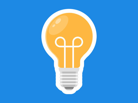 Light Bulb Flat Icon Illustration Vector