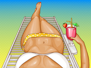 Vector illustration of pop art woman, sexy body in bikini with long legs. Poster with summer girl relaxing on deck chair with cocktail in hand. Template for advertising banner, perspective view