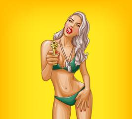 Vector pop art illustration of gangster girl in green bikini, armed with gun isolated on yellow background. Pin-up poster with military sexy woman holding revolver in hand and flirting