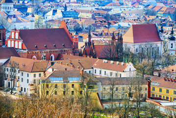 Wall Mural - View of Vilnius from the hill of Three Crosses point of view to the  Vilnius City.
