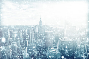 Fototapeten New York View of beautiful New york skyline with snow