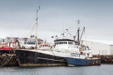 Fishing boats moored in port of Reykjavik