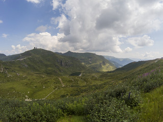 panoramic view of the mountains on a sunny summer day