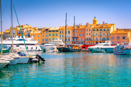 Saint Tropez, South of France. Luxury yachts in marina.